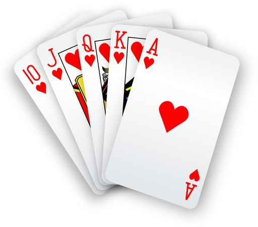 Poker cards Straight Flush hearts hand